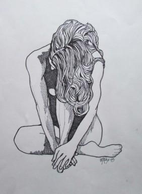 Tatoo'd Nude Seated
